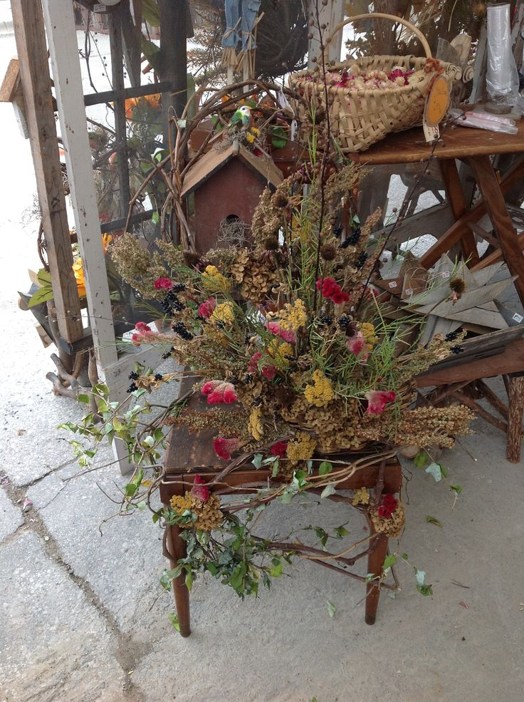 Upcycled decorated chair, dried flowers, arrangement, natural, primitive home decor,