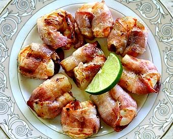 Bacon-wrapped shrimp, grilled and seasoned with chipotle chili and lime.