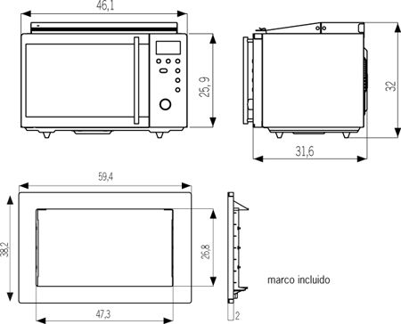 Medidas microondas pesquisa google medidas pinterest for Medidas de hornos pequenos