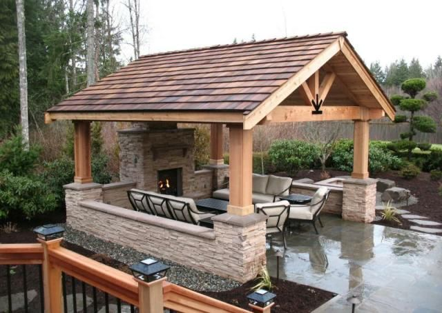 107 best images about bbq islands on pinterest covered for Outdoor kitchen pavilion designs