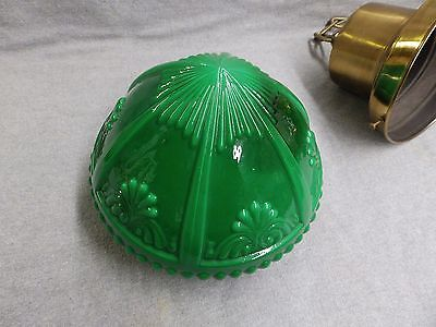 Antique-Brass-Victorian-Pendant-Light-Fixture-Old-Green-Glass-Globe-Vtg-480-16