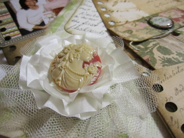 Cameo flower embellishment I made using trim from Maya Road (cream satin pleat edge and cream tulle)