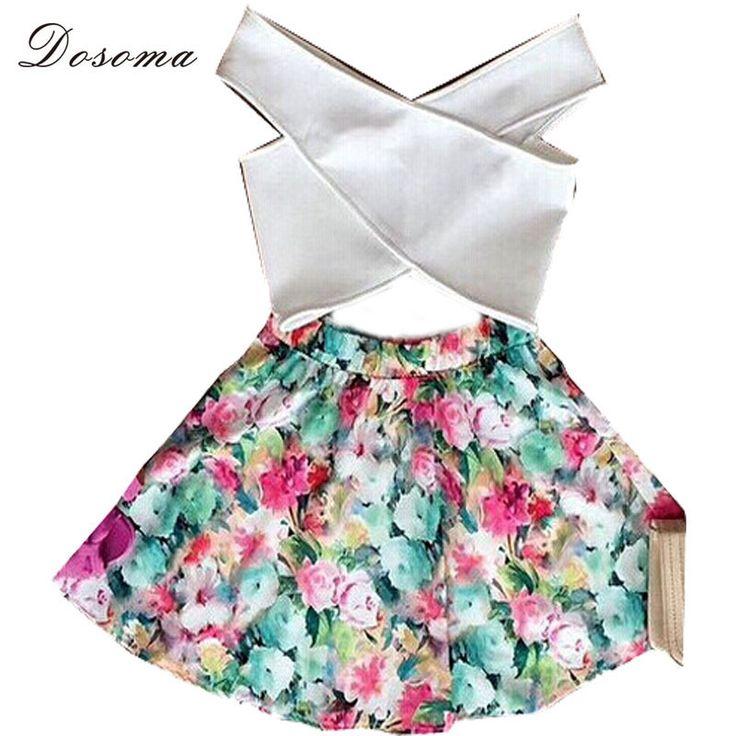 Moda mujer  Vestido cruz crop top y falda set floral impreso