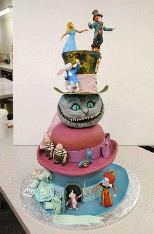 Alice and Wonderland, this cake had a lot of thought put into it.Its very detailed too.