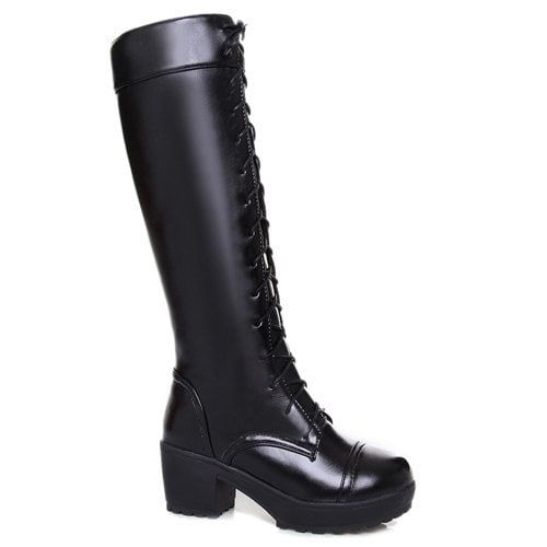 !!! Trendy Front Lace-Up and Chunky Heel Design Women's Knee-High Boots - BLACK 43---$34.40