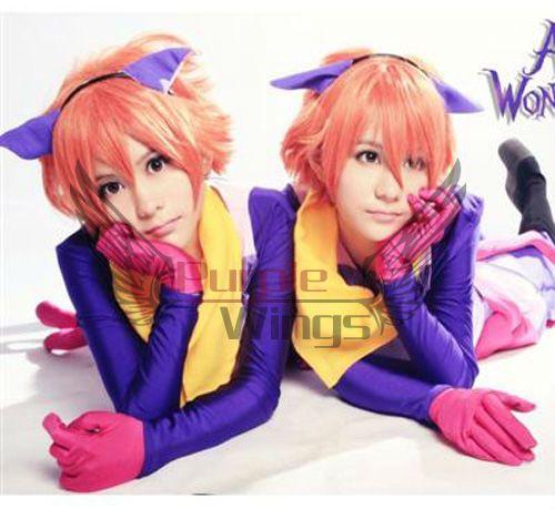 Аниме Косплей партия Моды Горячее надувательство Хикару Hitachiin/Каору Hitachiin оранжевый короткие косплей парик 2 парики