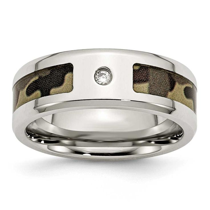 Chisel Polished with CZ Brown Camouflage Band, Men's