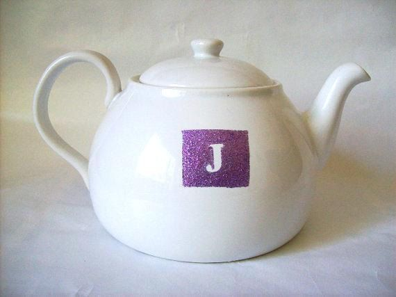 Tea Pot Customized Initial Monogrammed Tea pot by SimplyShimmer, $35.00