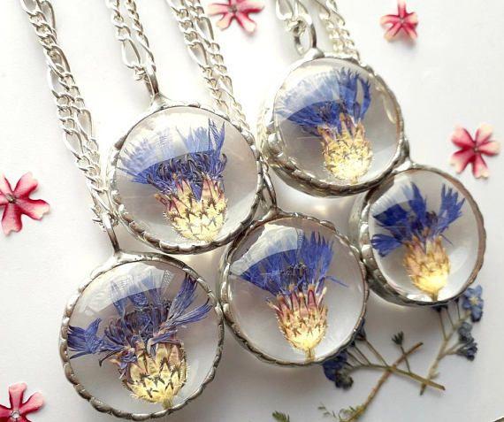Christmas gifts jewelry cornflower pendant pressed flower