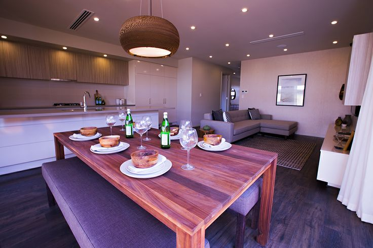 Open plan dining, lounge and kitchen gives this home a connected and spacious atmosphere. #weeksbuilding #openplan #dining