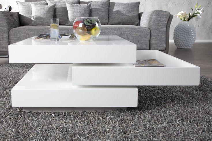 Der funktionale Design Couchtisch  - wohnzimmertisch hochglanz weiß
