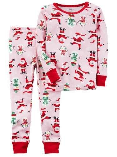 a6352ed5da7a Infant Girls Pink Cotton Santa   Snowman Christmas Holiday Pajamas ...