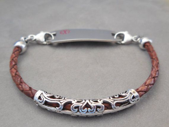 Leather ID Bracelet Medical ID Bracelet Medic by DesignerMedicalID
