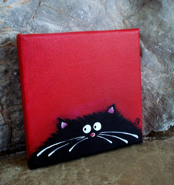 Fat Cat Art on canvas 6 by 6 inches