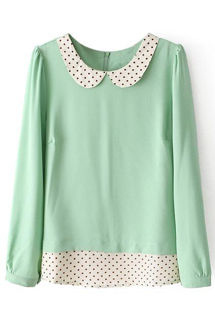 ROMWE | Polka Dots Print Mint Blouse, The Latest Street Fashion