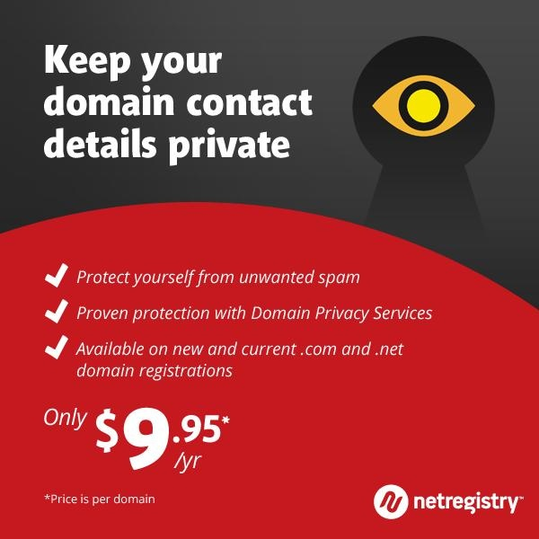 Did you know that as soon as your domain name is registered, these contact details are immediately stored and made available through a public WHOIS database that can be accessed by anyone? Read more to find out how to avoid this - http://www.netregistry.com.au/domain-names/domain-privacy/