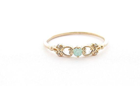 Gouden Ring blauwe Ring prinses Ring minimalistische door Lianie
