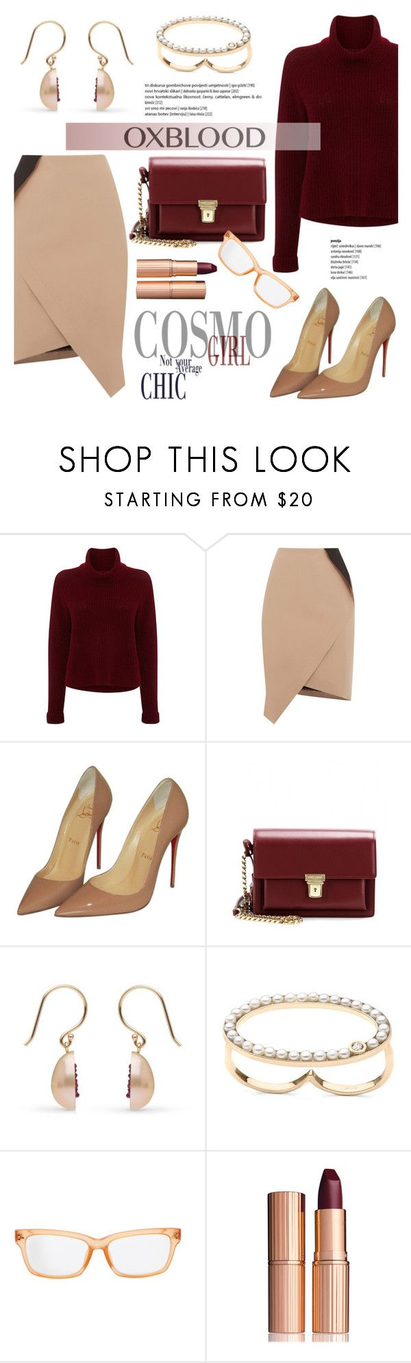 """""""Hot Color Trend: Oxblood"""" by littlehjewelry ❤ liked on Polyvore featuring 360 Sweater, Oasis, Christian Louboutin, Yves Saint Laurent, Matthew Williamson, Charlotte Tilbury, oxblood, contestentry, pearljewelry and littlehjewelry"""