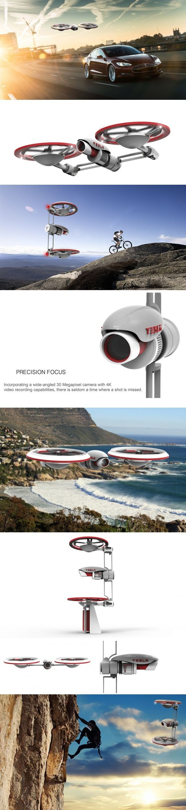 The Tesla Drone is unique reinterpretation of drone ingenuity.  #Drone #Tesla #YankoDesign #Technology