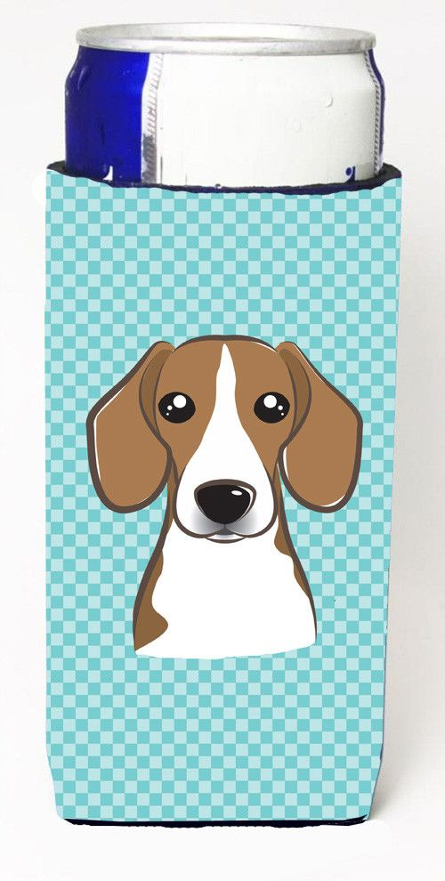 Checkerboard Blue Beagle Ultra Beverage Insulators for slim cans BB1177MUK