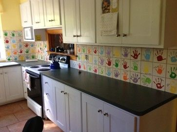 Love the handprint tiles preschool and daycare dacor for Daycare kitchen ideas