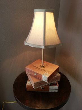 Cigar Box Lamp - Beautiful All-Wood Cigar Box Lamp - Casa Fernandez Cigar Boxes
