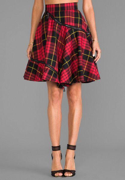 McQ Alexander McQueen Spiralling Skirt in Tartan Red