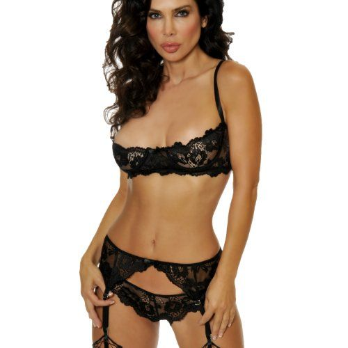 LoveFifi Women's Velv-Allure Lace Shelf Bra Set - 34 - Black ...