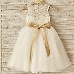 Princess Knee Length Flower Girl Dress - Lace Tulle Sleeveless Scoop Neck with Bow(s) Sash / Ribbon by LAN TING BRIDE® 2018 - $50.59