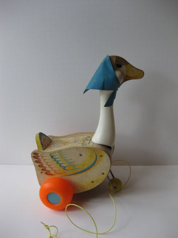 So cute and perfect as a decorative piece for a nursery or chldrens room! From the 60s this is a fun pull toy from Fisher Price. When you pull Mother Goose she quacks and waddles! Lots of wear, check on the close up of her head! Chipped paint on both sides. Other light signs of wear. Please feel free to ask any questions! I love to gift wrap and can ship directly to the gift recipient at no extra charge (in the USA)! I can also send a personalized gift tag! Be sure to check out my...