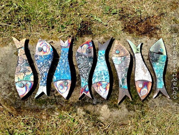 Deko-Objekte - Raku Fische aus Keramik - ein Designerstück von Objekte-aus-Ton bei DaWanda