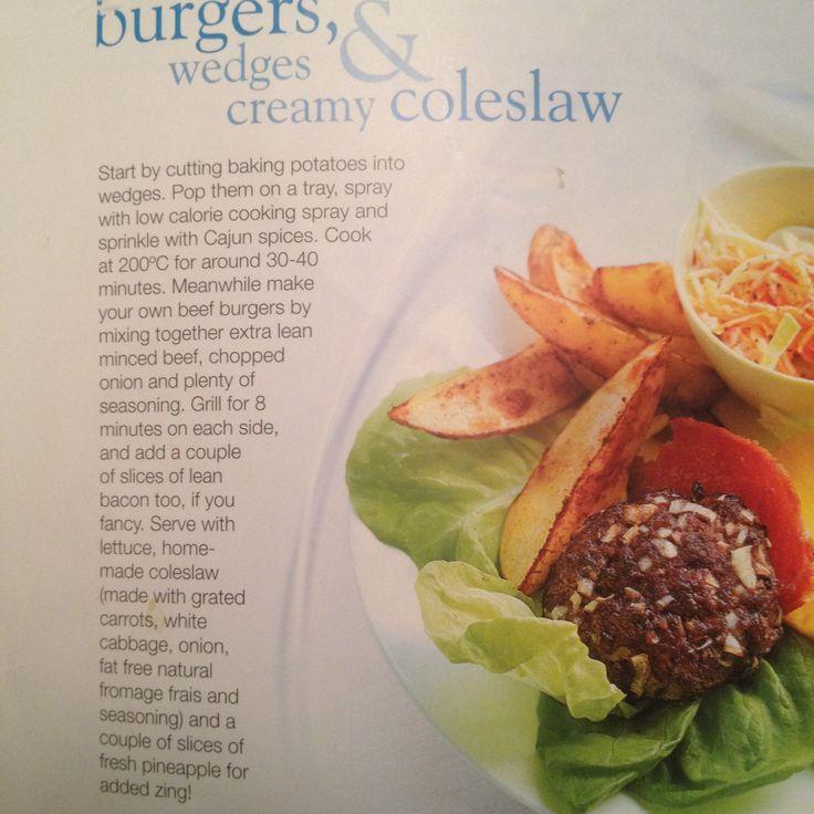 Slimming world syn free burger, wedges & coleslaw ...