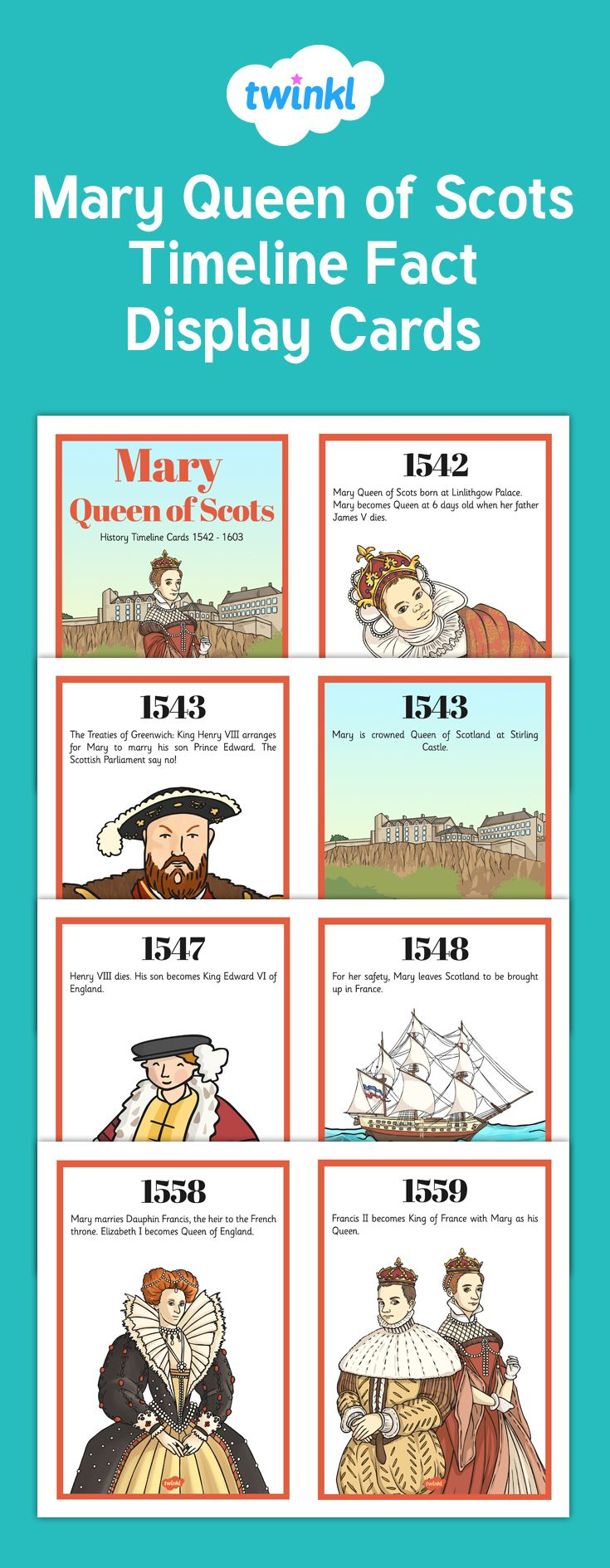 These Mary Queen of Scots display fact cards are a great way to visualise all the important points in this topic, with clear text and lovely illustrations.