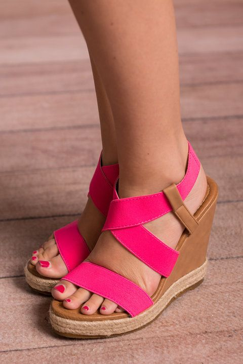 Boldly Go Wedges, Hot Pink - The Mint Julep Boutique