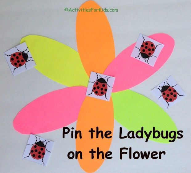 Pin the Ladybug on the Flower - Garden Party game printable from ActivitiesForKids.com.
