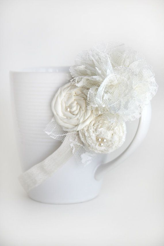 Cream Rosettes headband