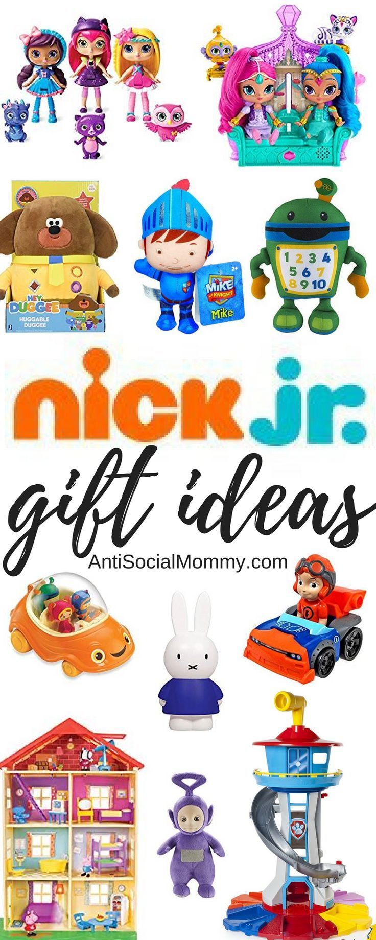 Nick Jr gift guide for paw patrol toys, peppa pig toys, and all nick jr's shows.