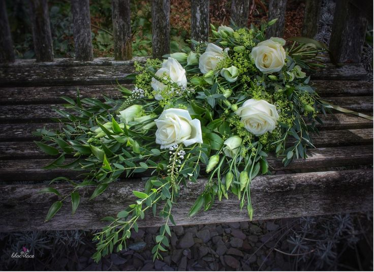 Classic green and white bridal presentation bouquet