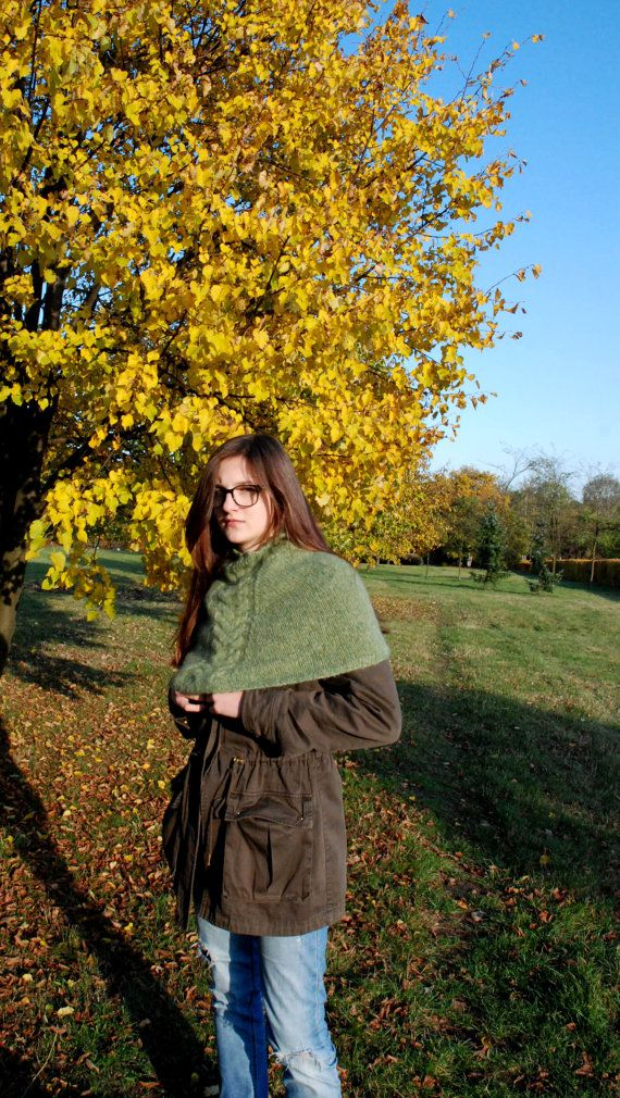 Soft Shoulder Cowl Hand Knit Cowl Green Handknitted by aboutCRAFTS