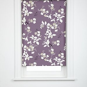 John Lewis Butterfly Blossom Blackout Roller Blinds, Cassis