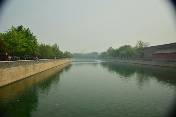 Aview of the moat that surrounds Tiananmen Square
