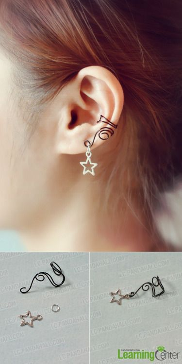 DIY Ear Cuff Tutorial fom Pandahall Learning Center.This DIY Ear Cuff almost gives the appearance of a pierced ear with the dangle star charm. This is a simple ear cuff requiring wire, a jump ring and charm.  I've posted pages of ear cuff tutorials here: truebluemeandyou.tumblr.com/tagged/ear-cuff and you can see the roundup of DIY ear cuff tutorials I posted here.  Also, I've received messages about being careful not to damage ear cartilage while wearing an ear cuff and posted this how to…