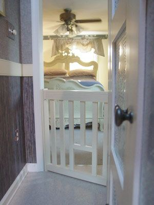 Cat Escape Gate with Cat Door - lets kitty in, but keeps out larger pets. From Gates2U.com