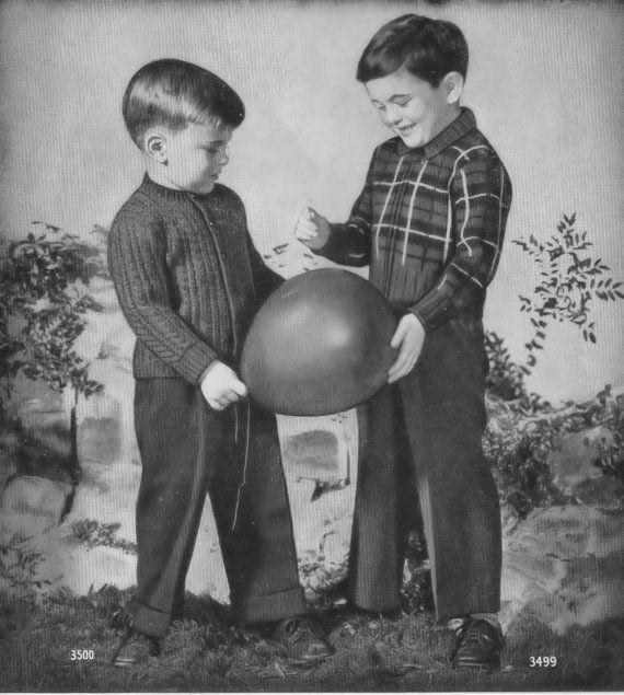 Vintage Boys Girls Knitting Pattern Plaid Windbreaker Sweater Pattern Sizes 2 to 4 Instant PDF Download