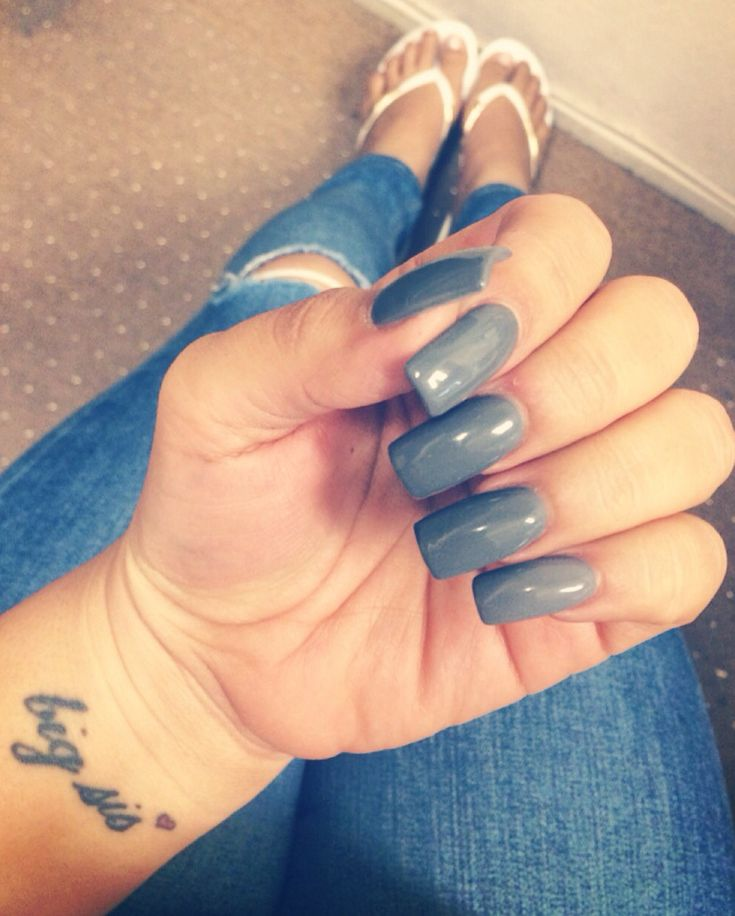 Long acrylic gel nails Gray nails Square nails Sister ...