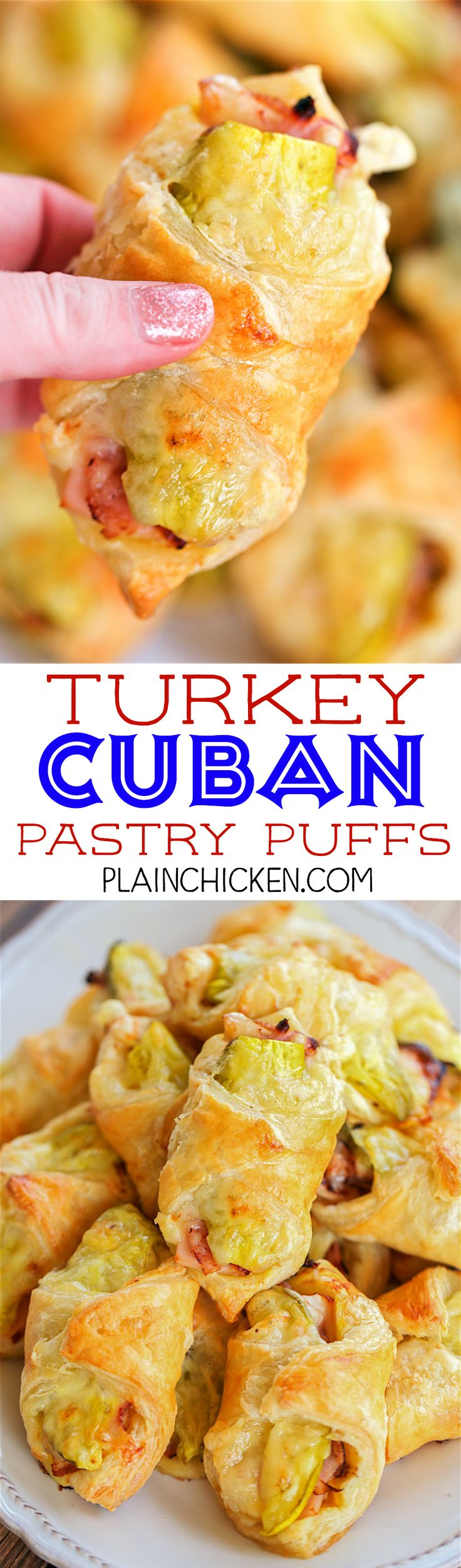Turkey Cuban Pastry Puffs - great way to use up leftover turkey! SO delicious! Puff pastry filled with mustard, turkey, ham, swiss cheese and pickles. Can make ahead and freeze unbaked. Great for parties, tailgating, lunch or dinner. These taste FANTASTIC!