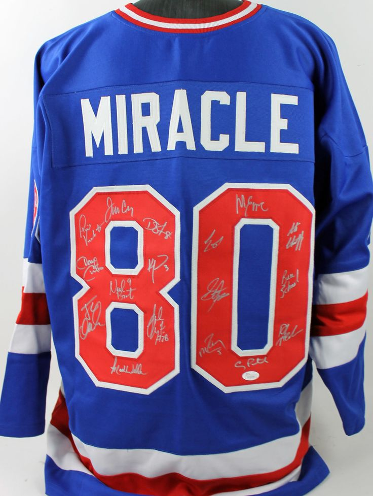 1980 Usa Hockey Miracle Team (17) Autographed Blue Jersey $742.99  This is a Authentic Signed Blue Jersey that has been Personally Signed & Autographed by 1980 USA Hockey Miracle Team (17). Both Jim Craig and Mike Eruzione signed this item along with 15 others. This item is 100% Authentic to include a Certificate of Authenticity (COA) / hologram by JSA Witness. This is a JSA Witnessed Protection Program item which means a JSA representative was present when this item was being signed.This is…