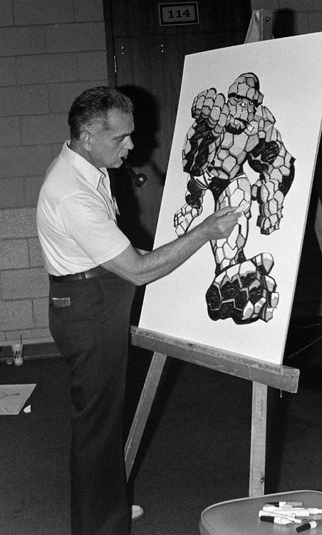 Kirby with his ever-lovin' blue-eyed creation who no one else could draw.