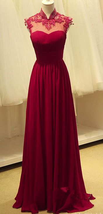 A-line Burgundy Chiffon Backless Prom Gown