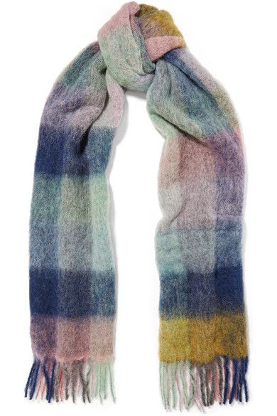 Holzweiler - Fresia Fringed Checked Knitted Scarf - Blue
